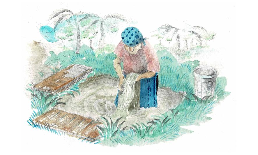 大島紬の伝統的な泥染